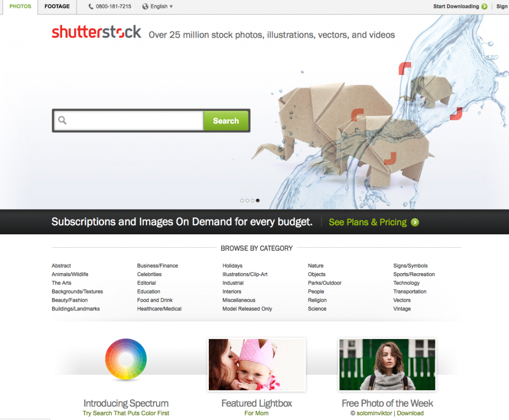 Homepage of Shutterstock.com