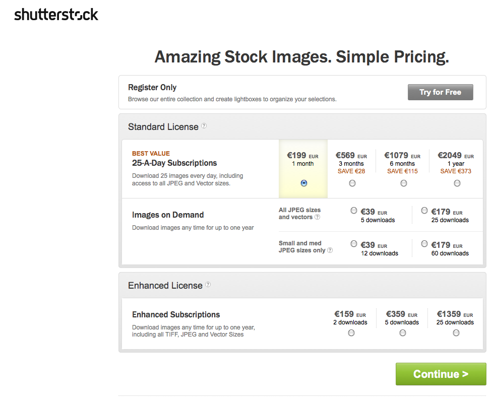Choice of subsriptions and image packs at Shutterstock.com