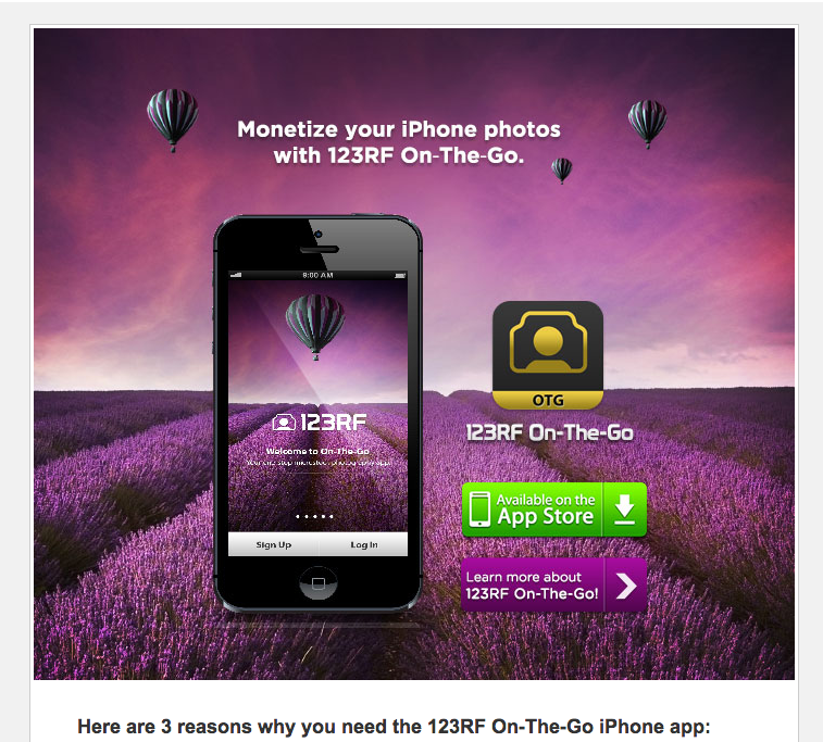 Email newsletter announcing the 123RF On The Go app