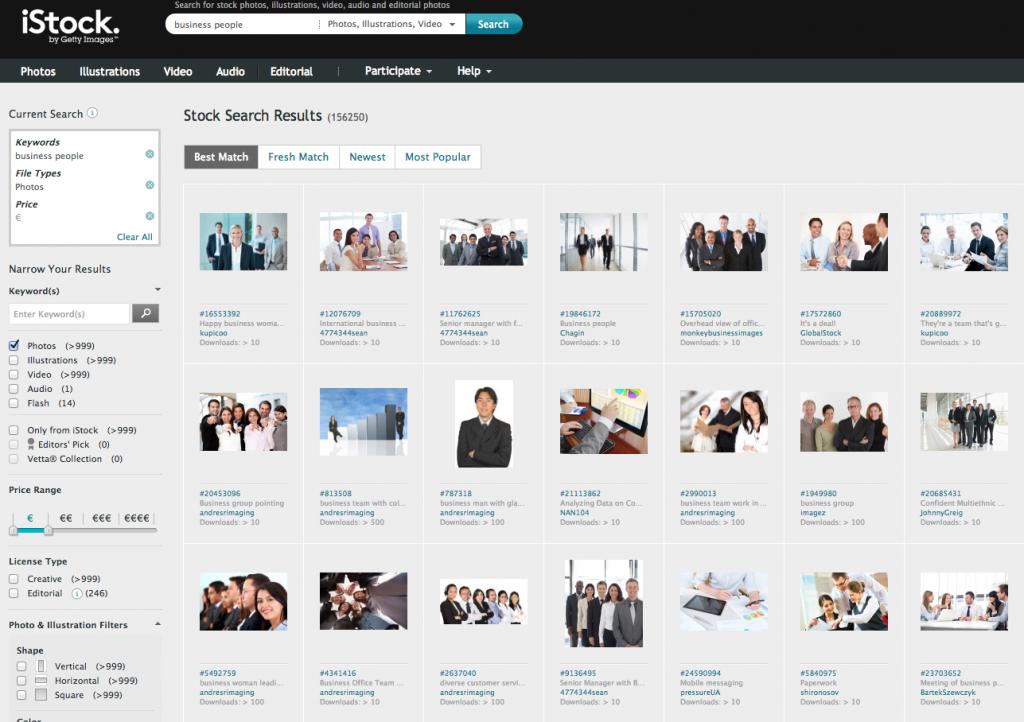 Screenshot iStock Main Collection