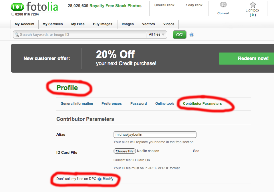 Opt Out Function in Fotolia Profile