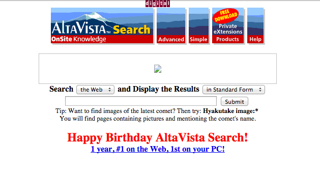 If you remember Altavista like this, you must be really old (Source: The Internet Archive)