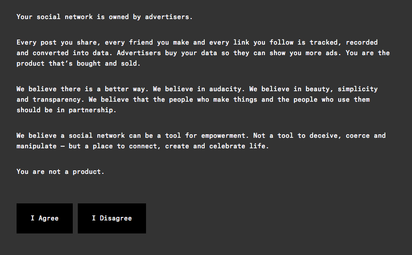 The basic idea of Ello, as described on their homepage