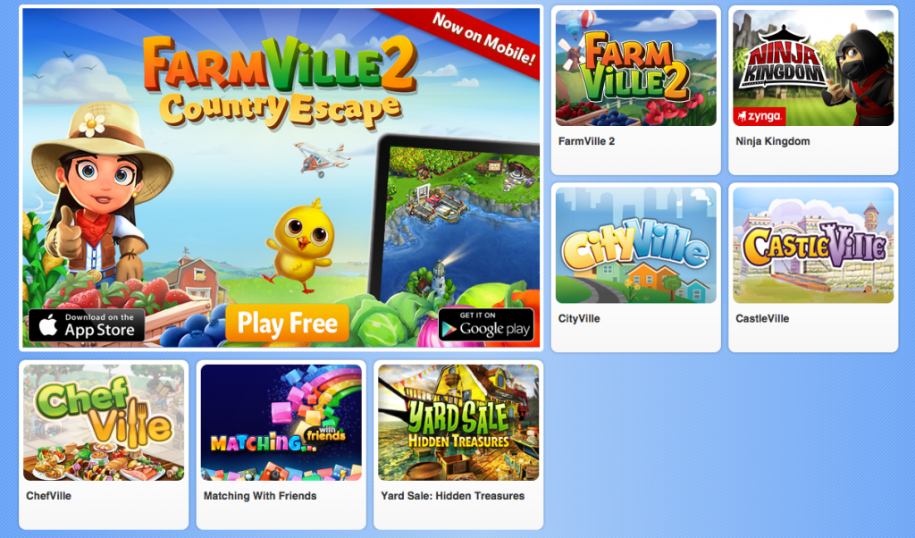 Play free, pay for additional features (Screenshot Zynga homepage)