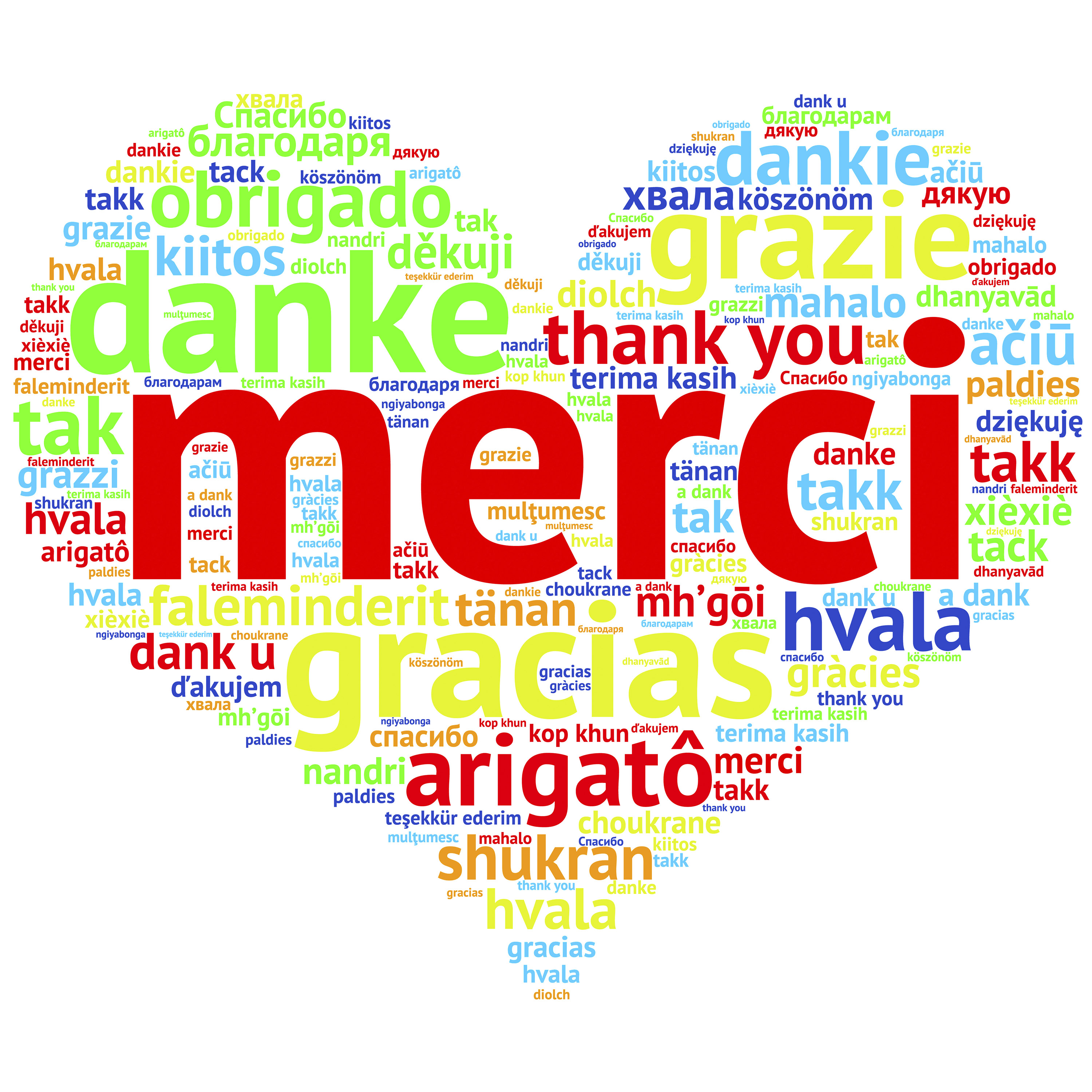 French: Merci, Heart shaped word cloud Thanks, on white