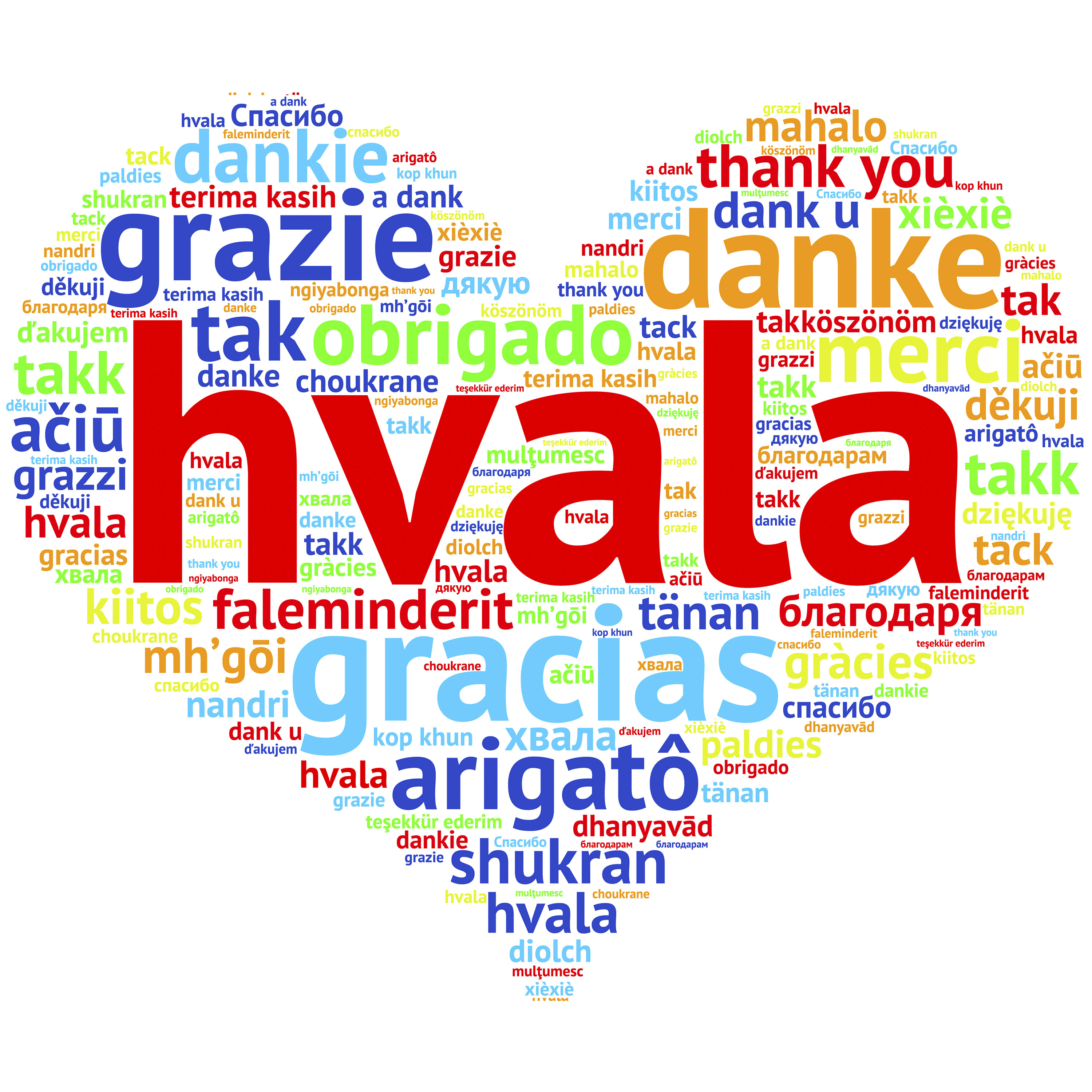 Serbian, croatian Hvala - Heart shaped word cloud Thanks, on whi