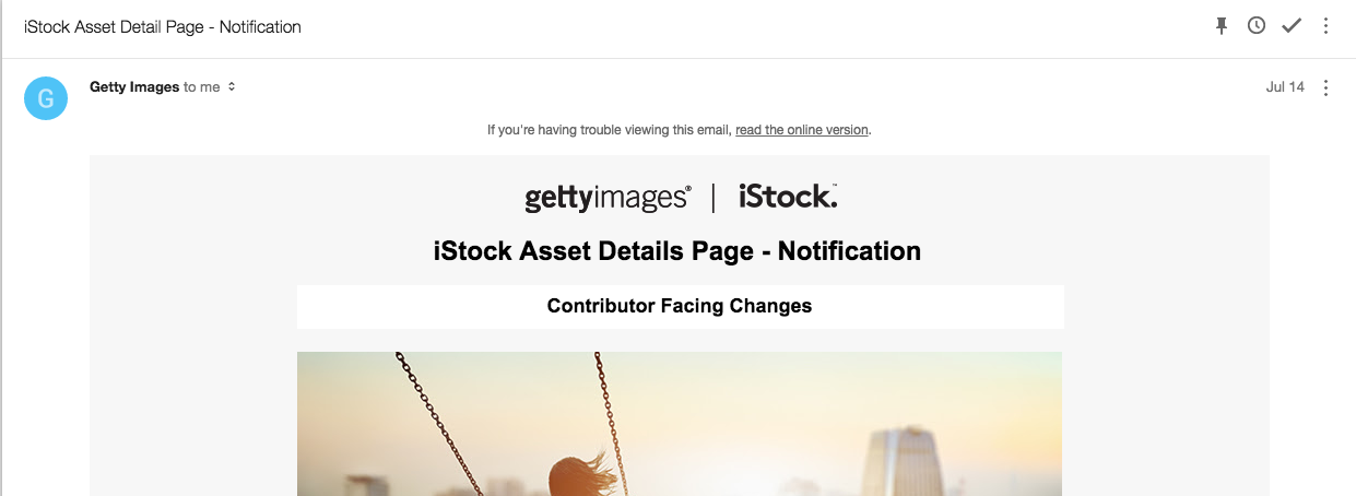 Announcement by Getty about iStock changes