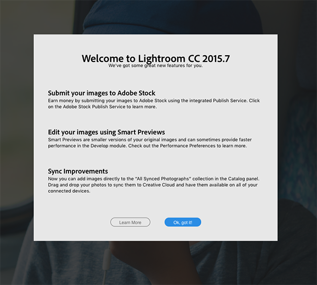 The update screen for Lightroom 6.7 / CC 2015.7